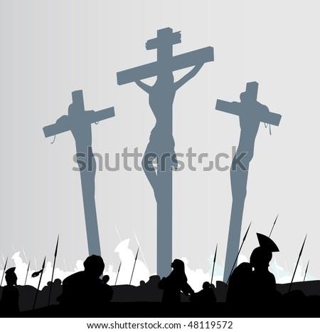 Eastern calvary crucifixion scene. Calvary crucifixon scene with three crosses. Vector Illustration.