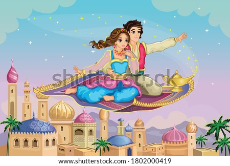 Eastern Princess and Aladdin on magic carpet. Fairytale Arabic landscape with Mosque. Muslim Cityscape. Cartoon Wallpaper. Cute doll or toy. Fabulous background. Wonderland. Children illustration. Vector