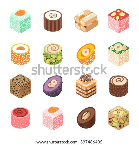 eastern sweets vector turkish
