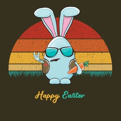 Eastre bunny badass and funny cartoon character with bunny ears isolated on vitnage sun background. rock n roll easter party poster or happy easter greeting card with blue rabbit