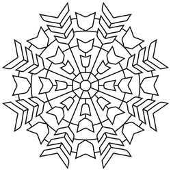 Easy adult Coloring Page mandala pattern in black line pattern on white background. Vector art in EPS 8.