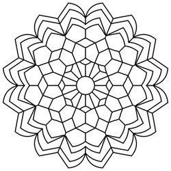 Easy adult Coloring Page mandala pattern in black line pattern on white background. Vector art in EPS 8..
