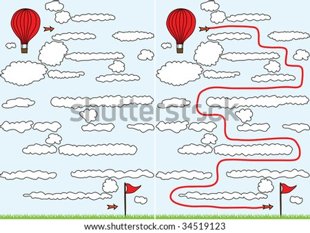 Easy balloon maze for kids with solution