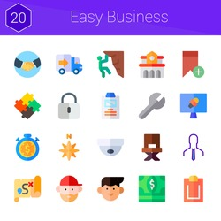 easy business icon set. 20 flat icons on theme easy business. collection of summary, handshake, settings, director, university, north, news report, avatar, delivery truck, dollar