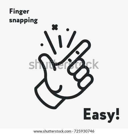 Easy Concept. Finger Snapping  Hand Gesture Minimal Flat Line Outline Stroke Icon Pictogram