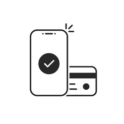 easy contactless payment by linear phone. flat trend modern outline logo graphic design isolated on white. concept of global marketing or e-commerce checkmark sign and paypass method without contact