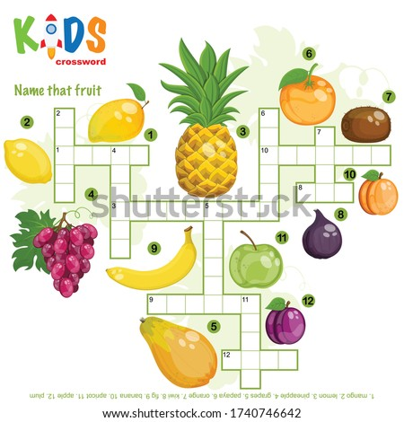 "Easy crossword puzzle ""Name that fruit"", for children in elementary and middle school. Fun way to practice language comprehension and expand vocabulary. Includes answers."