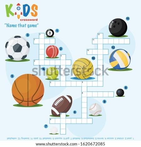 Easy crossword puzzle 'Name that game', for children in elementary and middle school. Fun way to practice language comprehension and expand vocabulary. Includes answers.