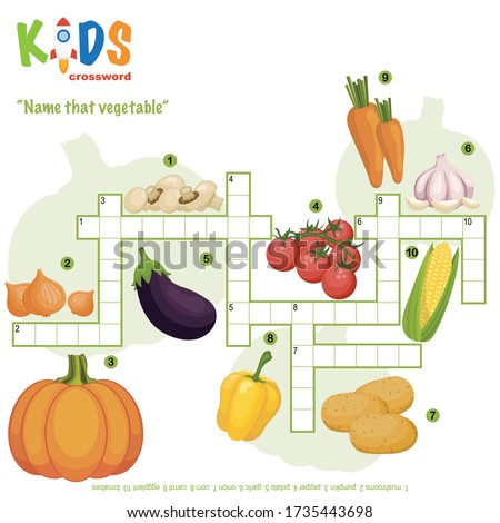 "Easy crossword puzzle ""Name that vegetable"", for children in elementary and middle school. Fun way to practice language comprehension and expand vocabulary. Includes answers."