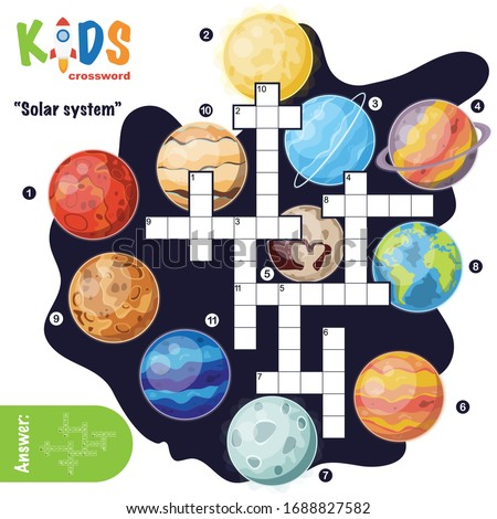 Easy crossword puzzle 'Solar system', for children in elementary and middle school. Fun way to practice language comprehension and expand vocabulary. Includes answers.
