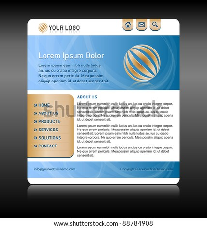 Easy customizable blue and gold website template layout