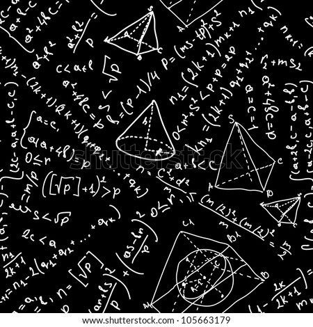 Easy editable maths formulas  seamless pattern. And also includes EPS 8 vector - stock vector