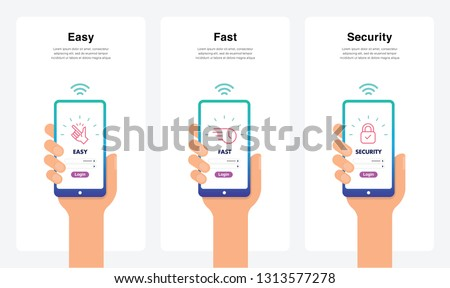 Easy, Fast, Security, New And Modern Trends. Can Use For Marketing And Promotion, Web, Mobile, Infographics, Editorial, Commercial Use And Others. Vector.  Foto stock ©