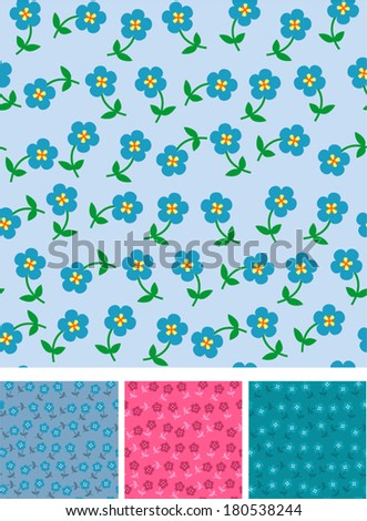 Easy flowers on seamless pattern. Patterns in four varicolored variants with nice small flowers. Vector is EPS8. Drop into your illustrator swatches and use as fill.