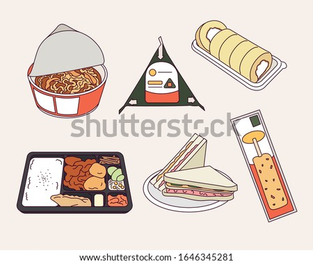 Easy foods sold at convenience stores in Asia-Korea. hand drawn style vector design illustrations.