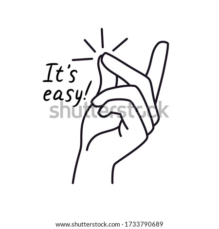 Easy gesture. Snapping finger magic gesture sketch drawing, winning expression or hand win signal, easy snap man fingers clicking, vector illustration