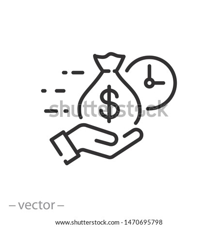 easy instant credit, loan payment, fast money icon, finance thin line symbol for web and mobile phone on white background - editable stroke vector illustration eps 10