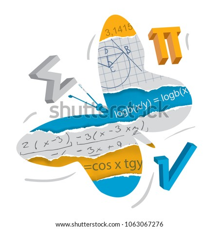 Easy learning of mathematics. and geometry, butterfly concept. Butterfly silhouette with mathematical symbols on torn paper. Concept symbolizing the easy learning of mathematics and geometry. Vector a