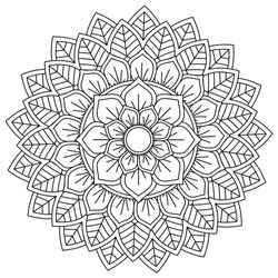 Easy Mandala Flower, Black Geometric patten, coloring page on white background