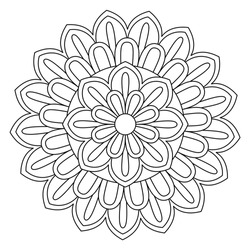 Easy mandala, simple mandalas flowers coloring page on white background.