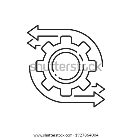 easy operation process with thin line gearwheel. outline trend modern simple recycle or execute logotype graphic design element isolated on white. concept of financial engine or solution realization Сток-фото ©