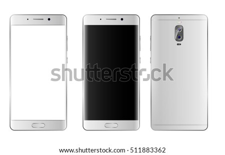 Easy place into screen smartphone. High detailed realistic white, silver Smartphone. phone front and back side isolated. Vector illustration. Cell phone mockup with edge side style
