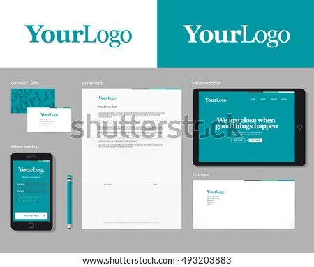Easy switchable logo in symbol & global colors. Corporate identity vector mockup with basic stationary set.  Stock fotó ©