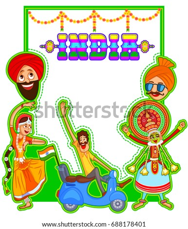 easy to edit vector cartoon illustration of India independence day