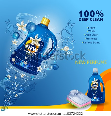 easy to edit vector illustration of advertisement banner of stain and dirt remover liquid laundry detergent for clean and fresh cloth