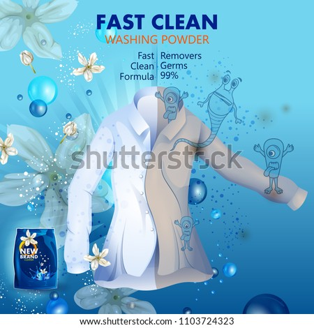 easy to edit vector illustration of advertisement banner of stain and dirt remover powder laundry detergent for clean and fresh cloth