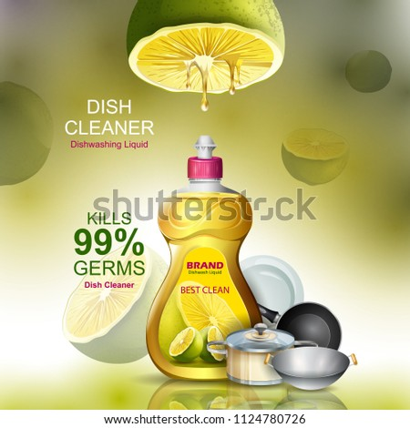 easy to edit vector illustration of Advertisement banner of tough stain remover liquid Dishwasher for clean and fresh utensil