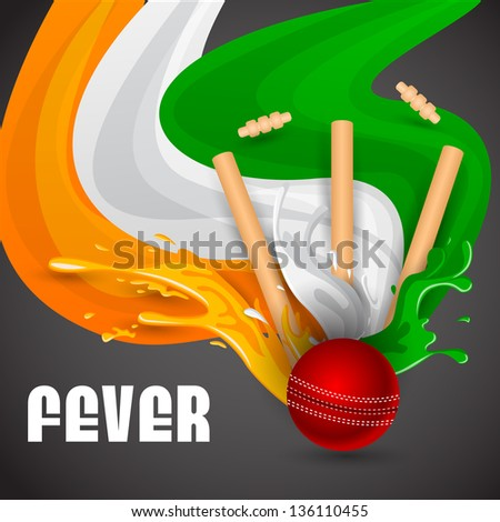 easy to edit vector illustration of ball and stumps for cricket design