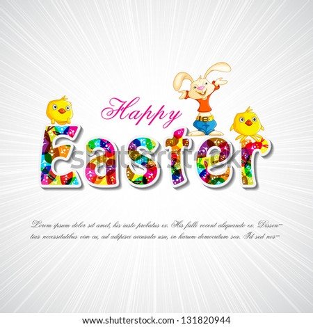 easy to edit vector illustration of Bunny with chick wishing Happy Easter