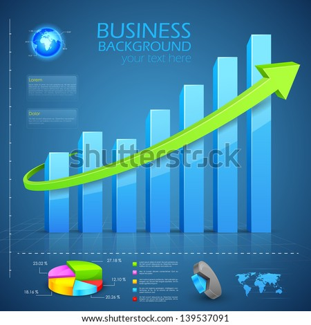 easy to edit vector illustration of Business Financial Graph Chart Diagram