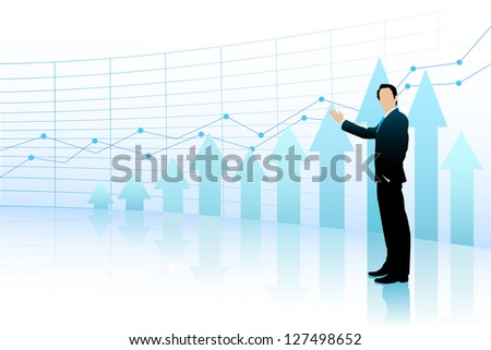easy to edit vector illustration of business man presenting business statistic in bar graph