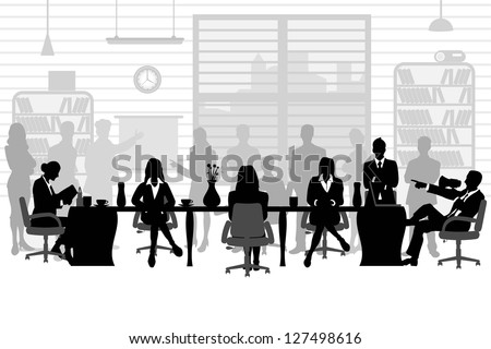 easy to edit vector illustration of  business people during a meeting sitting around a table