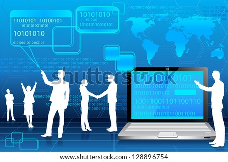 easy to edit vector illustration of business people in binary technology background