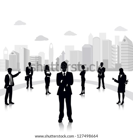 easy to edit vector illustration of business people standing on background with office building