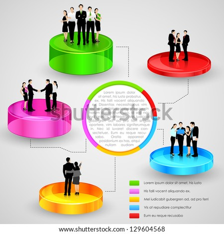 easy to edit vector illustration of business people standing over business graph