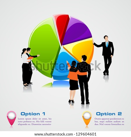 easy to edit vector illustration of business people standing over pie chart