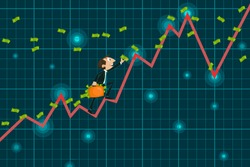 easy to edit vector illustration of businessman catching money climbing upward graph
