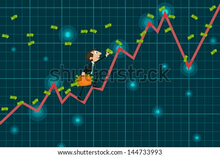 easy to edit vector illustration of businessman catching money climbing upward graph