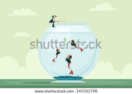 easy to edit vector illustration of businessman fishing manpower