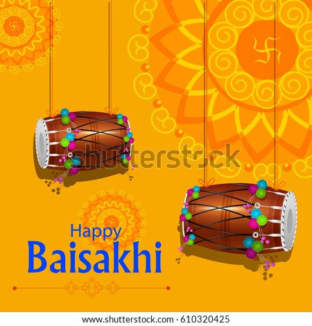 easy to edit vector illustration of celebration of Punjabi festival Baisakhi background