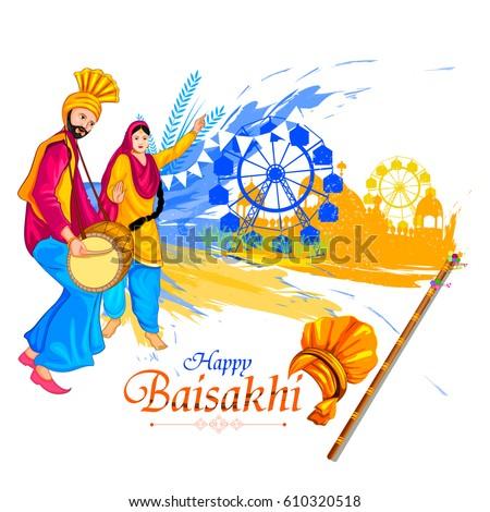 easy to edit vector illustration of celebration of Punjabi festival Baisakhi background