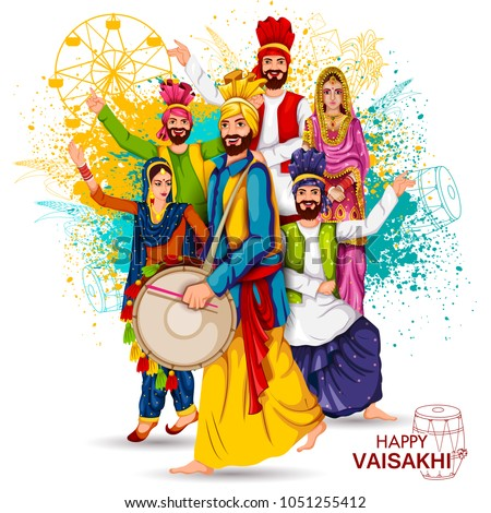 easy to edit vector illustration of celebration of Punjabi festival Vaisakhi background