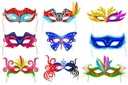 easy to edit vector illustration of colorful party mask