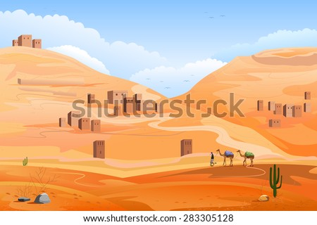 easy to edit vector illustration of Desert landscape