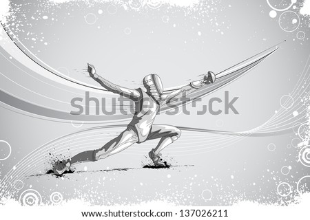 easy to edit vector illustration of fencer attacking with rapier foil