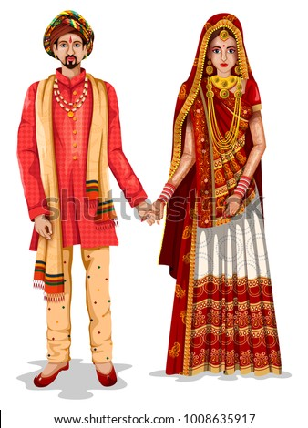 easy to edit vector illustration of Gujarati wedding couple in traditional costume of Gujarat, India